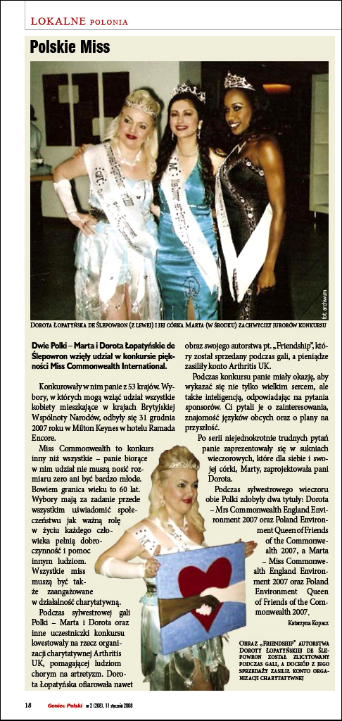 The Polish Times article on Dorota Lopatynska de Slepowron about her Miss Commonwealth International titles