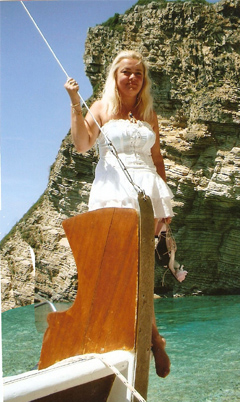 Dorota Lopatynska-de-Slepowron modeling at Corfu in Greece
